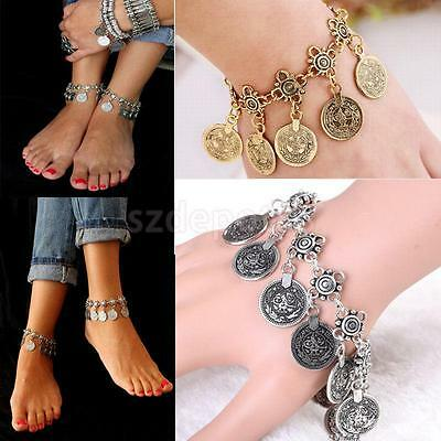 Womens Girl Vintage Antique Gold Silver Coins Anklet Ethnic Tribal Bracelet
