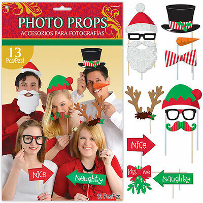 Christmas Photo Props Photo Booth 13 Pack Santa Reindeer Party Games
