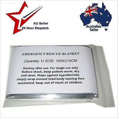 EMERGENCY RESCUE SOLAR BLANKET 160CM x 210CM Thermal Space Mylar Survival Safety