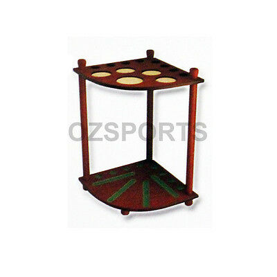 Formula Wooden 8 Cue Corner Stand / Rack Walnut with Drink Ball Holder for Pool