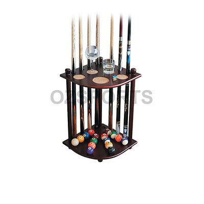 Formula Wooden 8 Cue Corner Stand / Rack Mahogany with Drink Ball Holder AU Post