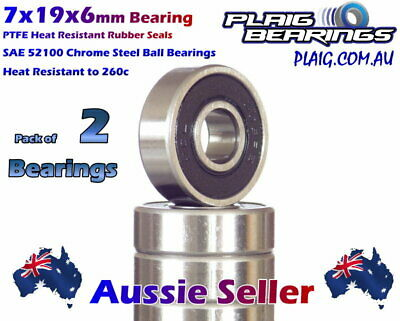 7x19x6mm Bearings (2) Precision Chrome Steel for Bicycle & Nitro Engines