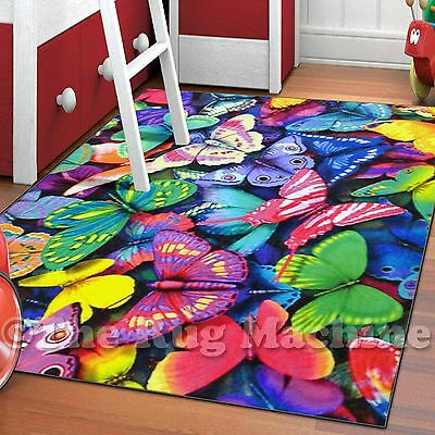 WHIZZ KIDS VIVID BUTTERFLIES FUN FLOOR RUG 160x230cm **CRYSTAL CLEAR IMAGERY**