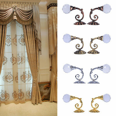 2X Metal Crystal Glass Curtain Holdback Wall Door Tieback Hooks Hanger Holder