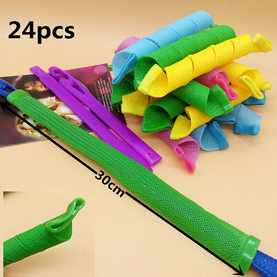 24Pcs 30cm Hair Rollers Hot DIY Curlers Large Magic Circle Spiral Styling Tools