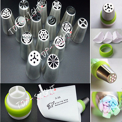 15pcs Russian Big Flower Stainless Steel Icing Piping Nozzles Cake Baking Tool