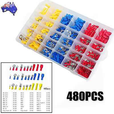 480Pcs Assorted Insulated Electrical Wire Terminal Crimp Spade Connector Box Kit