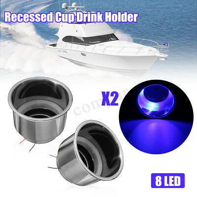 2x Blue 8 LED Stainless Steel Recessed Cup Drink Holder For Marine Boat Camper
