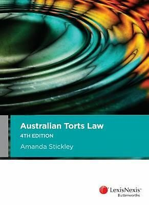 Australian Torts Law 4th Edition by A. Stickley Paperback Book