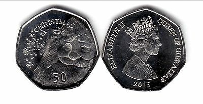 [D*] Gibraltar  2015   50 Pence  50P   Christmas   Unc-