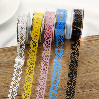 Washi Tape 5X Candy Colors Lace Paper Sticker Decorative Adhesive Masking Sticky