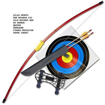 """Recurve Junior Youth Bow Set/ Longbow Kit - 44"""" - Red With Six Arrows"""