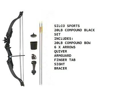 Archery 20Lbs Youth Black Compound Bow & Arrows Set with Acessories & 6 Arrows