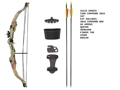 Camo Archery Compound Bow Set 20 -JUNIOR with Accessories & 6 Arrows - R/H