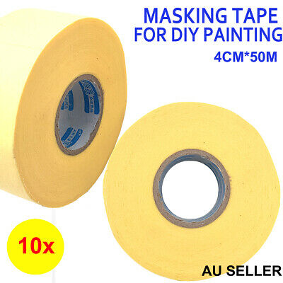 6x rolls painting masking film sheet pre taped plastic drop paint tape stick aud. Black Bedroom Furniture Sets. Home Design Ideas