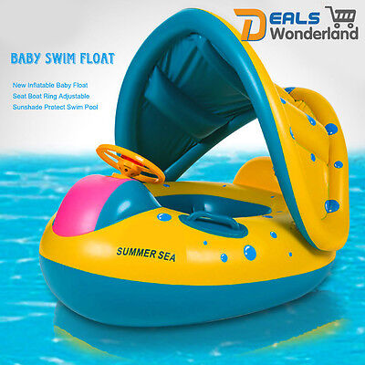 Adjustable Sunshade Kid Baby Toddler Inflatable Float Seat Boat Swimming Pool To