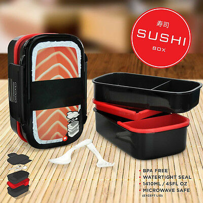 Japanese Plastic Sushi Bento Box Double Layer Salmon Lunch Box Food Container