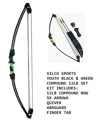 Youth/Child Black & Green Compound Archery Bow 12Lbs Kit Set 5 X Arrows & Access