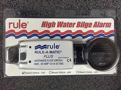 New Rule High Water 12V BILGE Alarm Kit In Dash Guage Warning Safety Model 33ALA