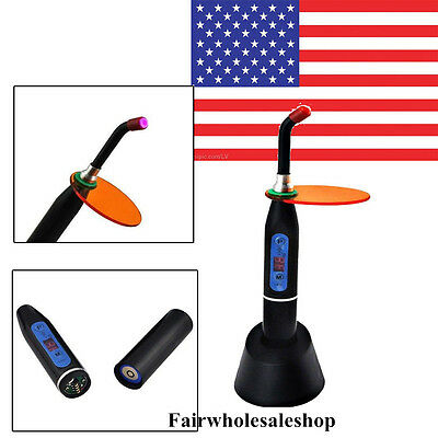 Black Dental 5W Wireless Cordless LED Curing Light Lamp 1500mw USA Denshine Fast