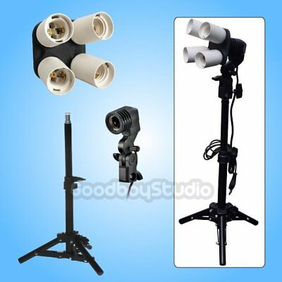 Studio 4-in-1 E27 Socket + Single Lamp Bulb Holder + 40cm Light Stand Photo Kit