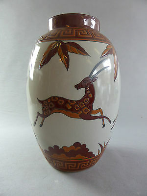 Large Art Deco Style Red Jumping Deer Vase Keralouve La Louviere Vase Biches