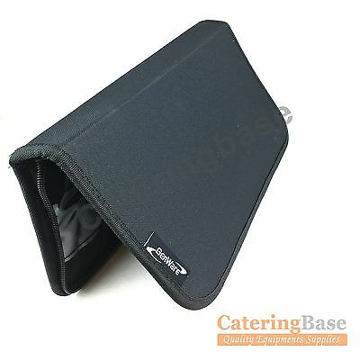 Genware Knife Wallet Case Chef Knives Roll 7 Slot Compartments Black Wipe Clean