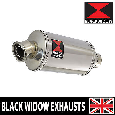 BLACK WIDOW STAINLESS STEEL EXHAUST SILENCER END CAN 230mm OVAL SLIP ON 230SS