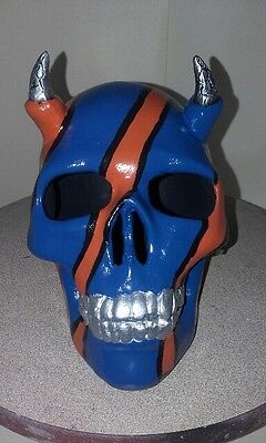 Horned Skull Orange And Blue War Paint  - Hand Made And Painted In Australia