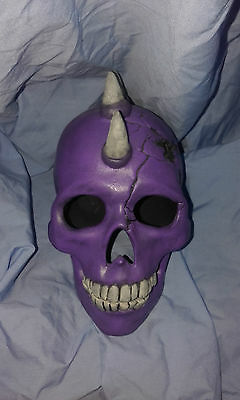 Purple Ceramic Skull W/bullet Hole & Horns  - Hand Made And Painted In Australia