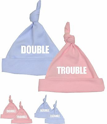 BabyPrem DOUBLE TROUBLE Baby Hats Novelty Gifts for Twins Baby Shower Ideas