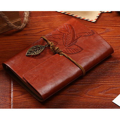 Vintage Notebook Diary String Leaf Travel Leather Journal Sketchbook Brown NEW