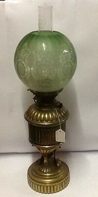 Victorian brass Table Lamp with Etched Green shade