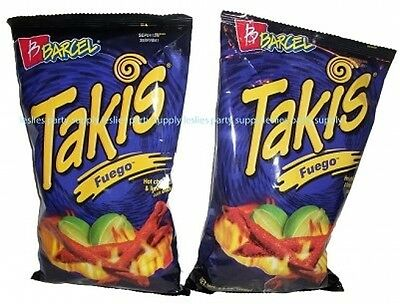 Takis Fuego Hot Chili Pepper and Lime Flavored Corn Snacks(Two 9.9 Oz. Bag)