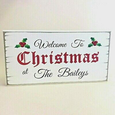 Personalised Free Standing Christmas Sign Shabby Vintage Wooden Chic Gift Idea