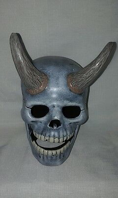 Ceramic Extra Large Horned Skull - Hand Made And Painted In Australia