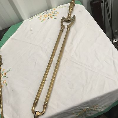 Antique  Large Brass Fire Tongs