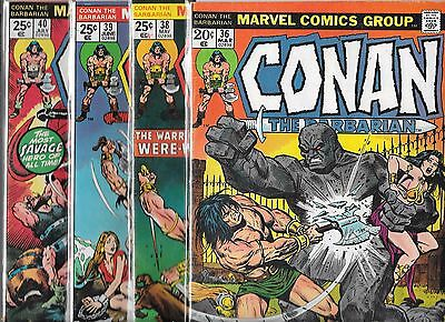 Conan The Barbarian Lot Of 4 - #36 #38 #39 #40 (Fn-) 1970's Bronze Age