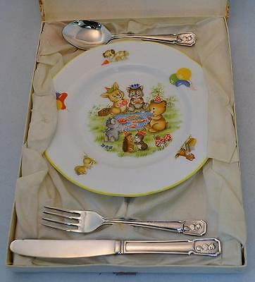 Charming Vintage Oakley Fine Bone China Child's Plate and Silver Plated Cutlery