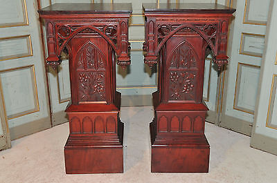 Religious Antique French Gothic Church Pedestal BEAUTIFUL Matching Pair Mahogany