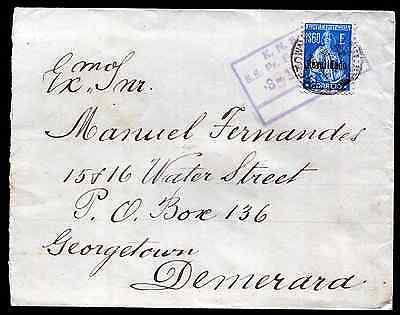 FUNCHAL (1396) British Guiana/K.N.S.M. paquebot cancel/cover