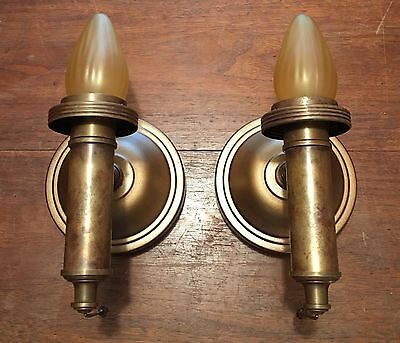 Antique Brass Wall Sconce Wall Fixtures Matched Wired Pair