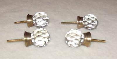 vintage small diamond shaped glass drawer knobs set of four