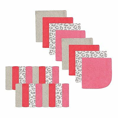 "Luvable Friends 24 Pieces Baby Boys Washcloths 9"" X 9"" Pink Leopard New"