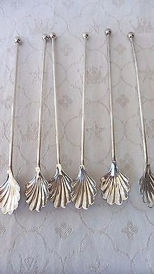 Winthrop silver plated julep shell shaped sipping spoons