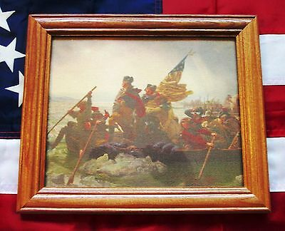 Framed Painting on Canvas. George Washington crossing the Delaware. 1776