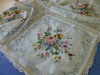 Antq hand embroidered linen panel bedspread coverlet lace trim English floral