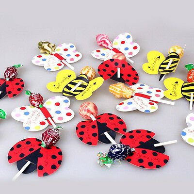 50pcs Bees Ladybug Butterfly Lollipop Decoration Card Birthday Party Candy Gift