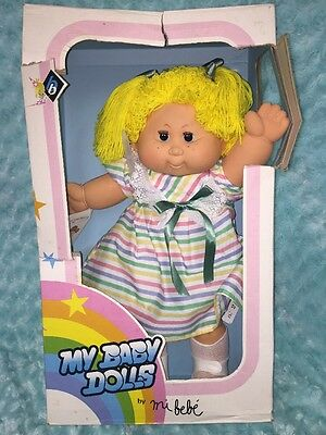 "Vintage b.b. Made in Spain Mi Bebe YARN BLOND YELLOW Hair Girl Baby Doll-19"" new"