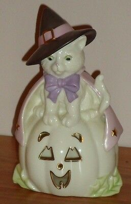 Lenox HALLOWEEN CAT HOCUS POCUS w/Witch Hat Pumpkin Jack o Lantern Figurine 6""